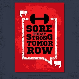 Grunge poster met fitness citaat