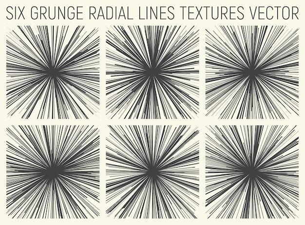 Grunge radiale lijnen texturen vector set