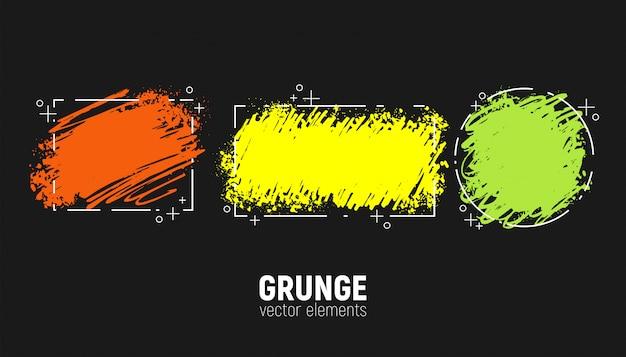 Grunge set. hand tekenen penseelstreken.
