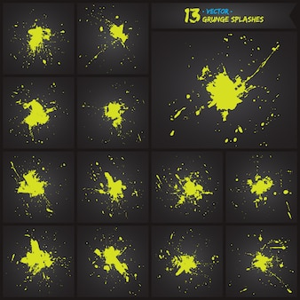 Grunge splash borstels vector set