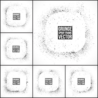 Grunge spray frames vector set