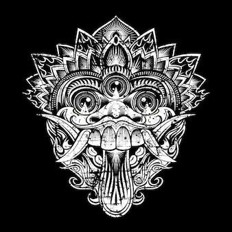 Grunge stijl illustratie de maskers van de mythologische god. balinese stijl