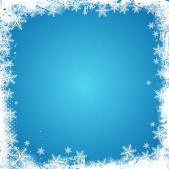 Grunge stijl kerst achtergrond met een sneeuwvlok grens