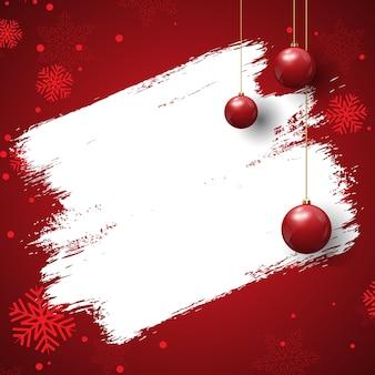 Grunge stijl kerst achtergrond met kerstballen en sneeuwvlokken