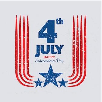 Grunge stijl ons onafhankelijkheidsdag ontwerpsjabloon