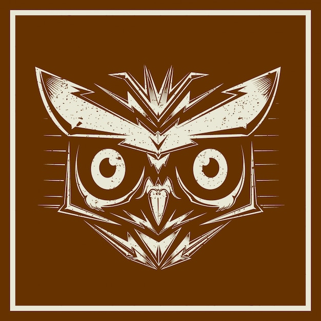 Grunge stylevector uil vogel hoofden tonen verschillende soorten en veren, geãƒâ¯soleerd