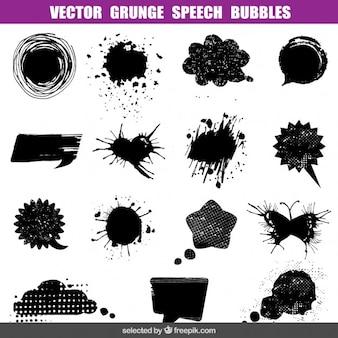 Grunge tekstballonnen set