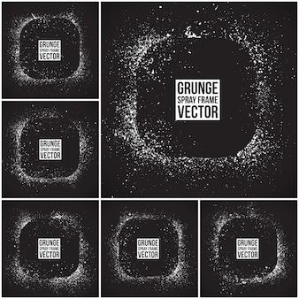 Grunge vector spuitframes instellen