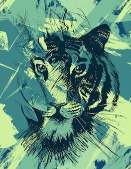 Grunge wilde tijger
