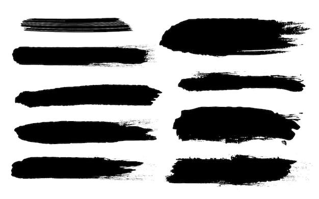 Grunge zwarte ruwe penseelstreken.