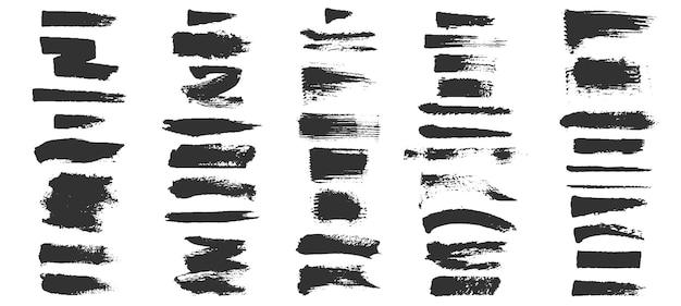Grungeborstels. penseelschetsslagen, zwarte plonsnoodtextuur en verfklodder. ruwe inktvlek en kalligrafie element vector set. illustratieschets grungy vorm, artistieke plons getextureerd