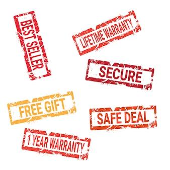 Grungy inkt stickers collectie veilige deal, bonuskwaliteit en korting geïsoleerde zegels set