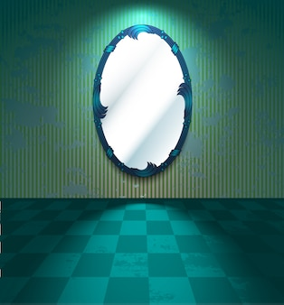 Grungy kamer met spiegel