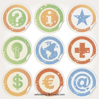 Grungy stickers met pictogrammen