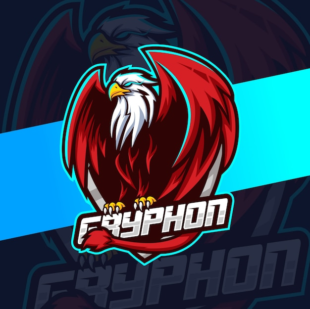 Gryphon mascotte esport logo ontwerp
