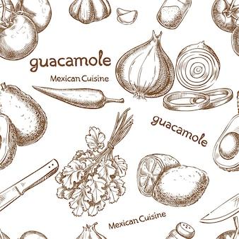 Guacamole, ingrediënten van het voedsel naadloos