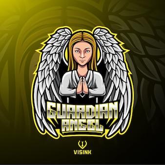 Guardian angel mascotte logo ontwerp