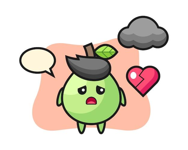 Guava cartoon illustratie is gebroken hart, schattig stijlontwerp voor t-shirt, sticker, logo-element