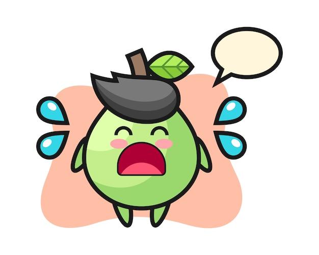 Guava cartoon illustratie met huilend gebaar, leuke stijl voor t-shirt, sticker, logo-element