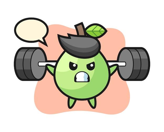 Guava mascotte cartoon met een barbell, leuke stijl voor t-shirt, sticker, logo-element