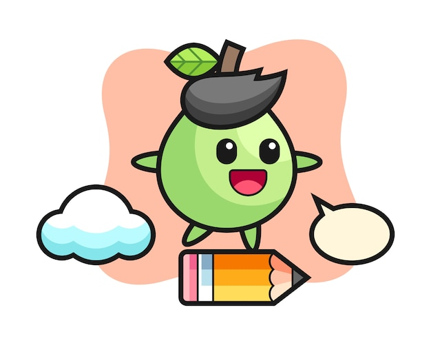 Guava mascotte illustratie rijden op een gigantisch potlood, leuke stijl voor t-shirt, sticker, logo-element