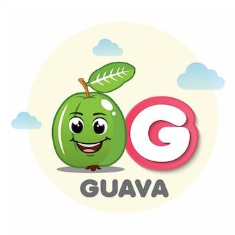 Guava-mascotte met brief g