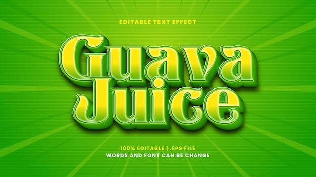Guave juice bewerkbaar teksteffect in moderne 3d-stijl
