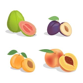 Guave, pruim, abrikoos en perzik