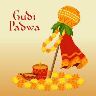 Gudi padwa banner in plat ontwerp