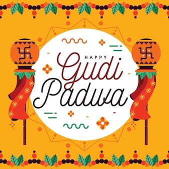 Gudi padwa viering plat ontwerp