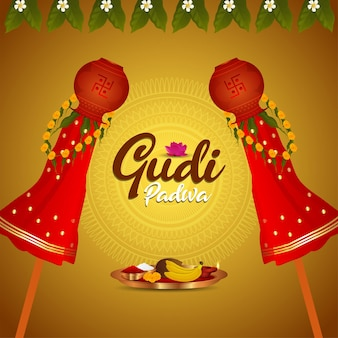 Gudi padwa viering wenskaart Premium Vector