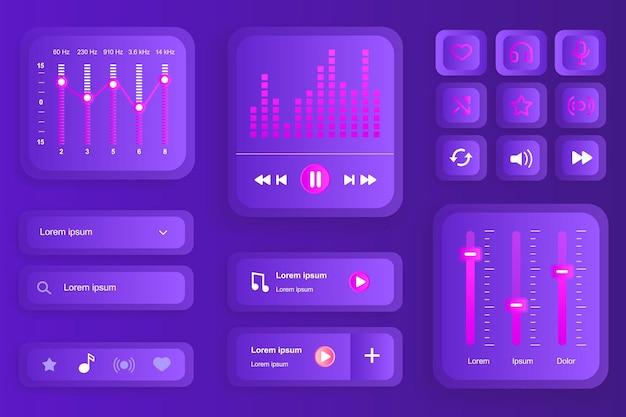 Gui-elementen voor de mobiele app van de muziekspeler