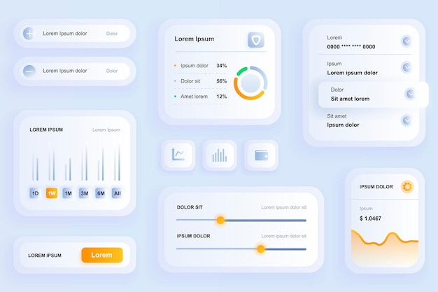 Gui-elementen voor financiële mobiele app