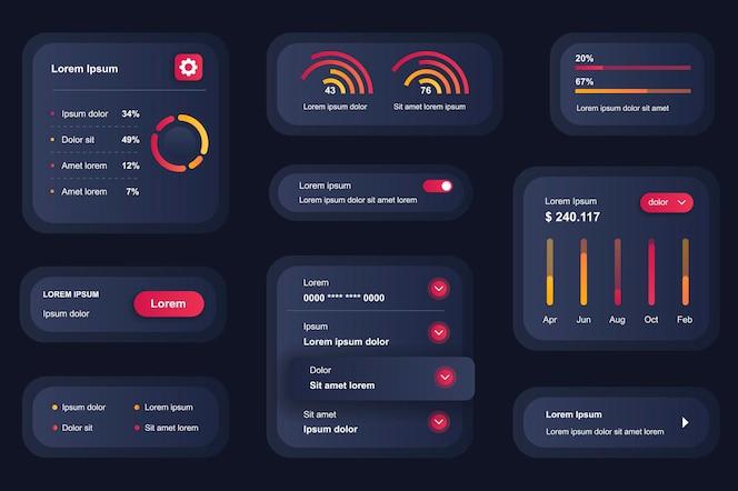 Gui-elementen voor mobiele app voor bedrijfsanalyse