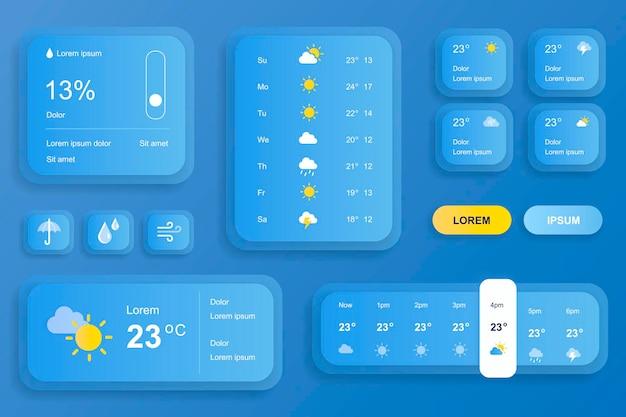 Gui-elementen voor mobiele app voor weersvoorspelling