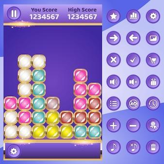 Gui game match blok puzzel en knoppen set.