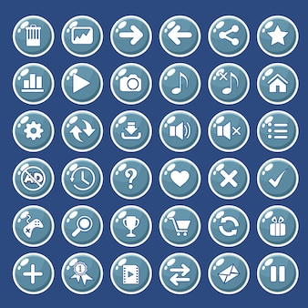 Gui-knoppen pictogrammen die zijn ingesteld voor game-interfaces kleur blauw.