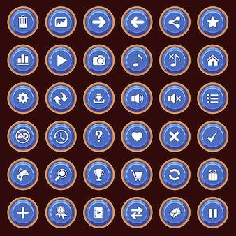 Gui-knoppen platte set kleur blauw en randkleur geel.