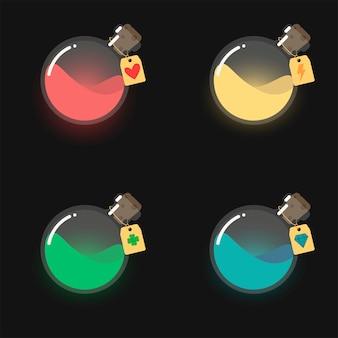 Gui, spelicoon van flessen met kleurrijke vloeistof zoals mana, gezondheid, energie en gelukselixir. ronde glazen kolven met labels.