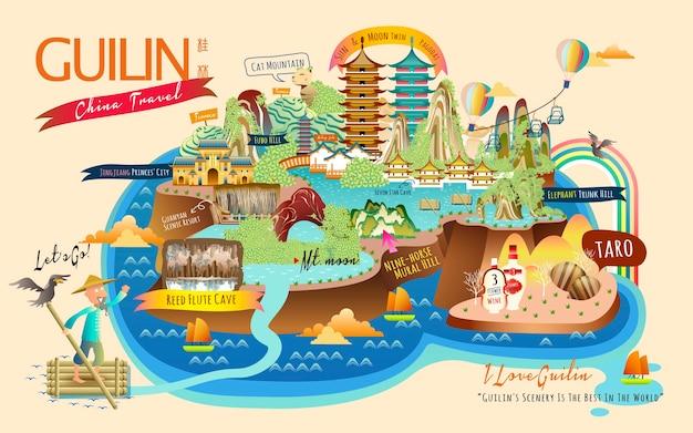 Guilin-reiscollecties met beroemde attracties en specialiteiten