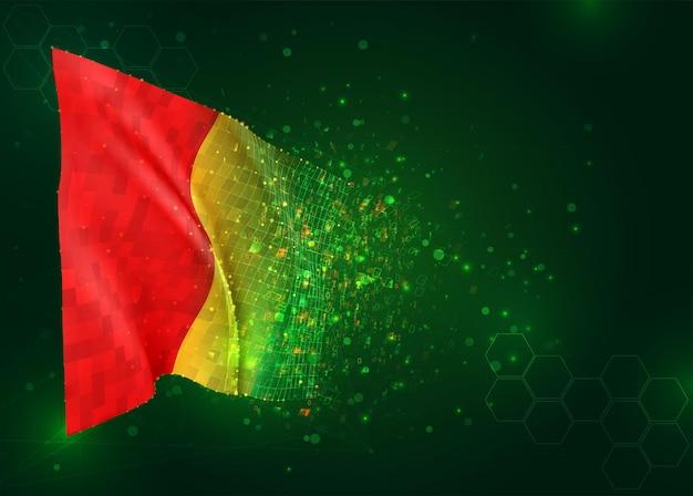 Guinee, 3d-vlag op groene achtergrond met polygonen
