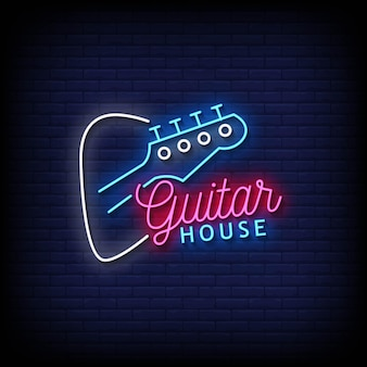 Guitar house neon signs style tekst vector