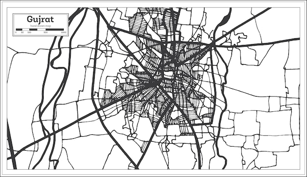 Gujrat pakistan stadsplattegrond in retro stijl in zwart-witte kleur. overzicht kaart. vectorillustratie.