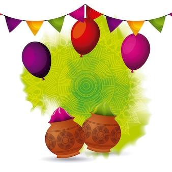 Gulal poeder kleur ballonnen en guirlande decoratie