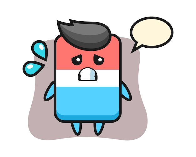 Gum mascotte karakter met bang gebaar, schattige stijl, sticker, logo-element