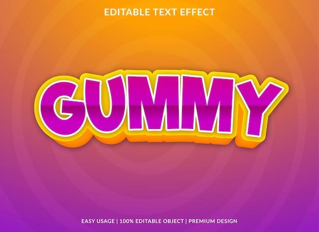 Gummy bewerkbare teksteffectsjabloon premium vector
