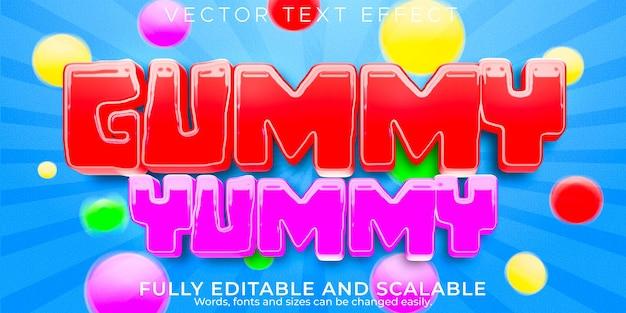 Gummy-teksteffect, bewerkbare tekststijl voor snoep en suiker