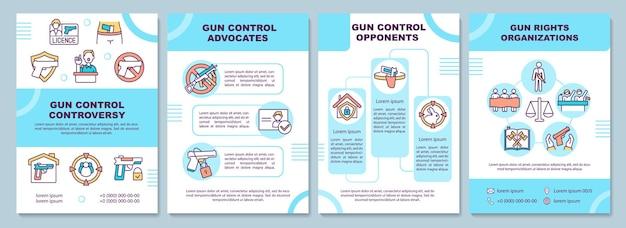 Gun control controverse brochure sjabloon. wapenrechtenorganisatie. flyer, boekje, folder, omslagontwerp met lineaire pictogrammen. lay-outs voor tijdschriften, jaarverslagen, reclameposters
