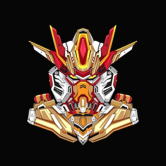 Gundam basiskostuum robotontwerp met moderne illustratieconceptstijl voor budge embleem premium