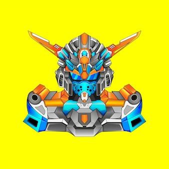 Gundam basiskostuum robotontwerp met moderne illustratieconceptstijl voor budge-embleem